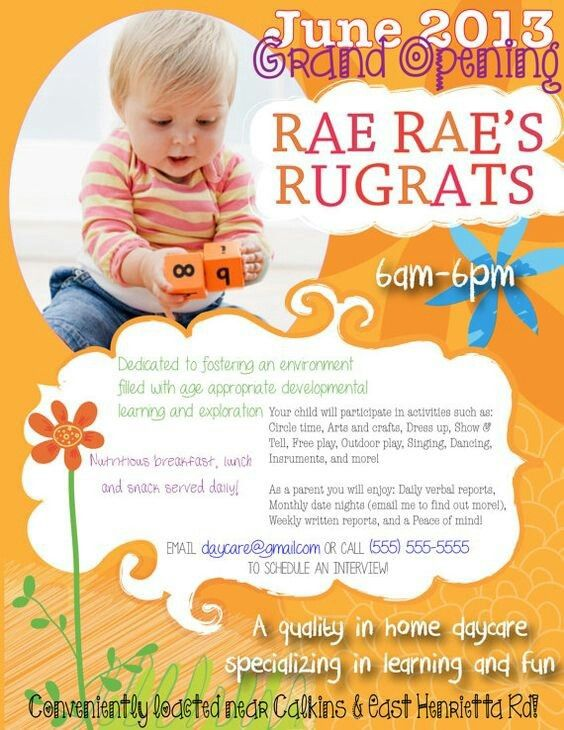 Daycare Promotional Materials - Flyers & Advertisements | Kimny ...