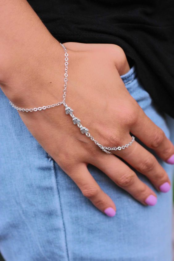 Hand Chain Sterling Silver Hand Chain Bracelet by Alyssasdreams