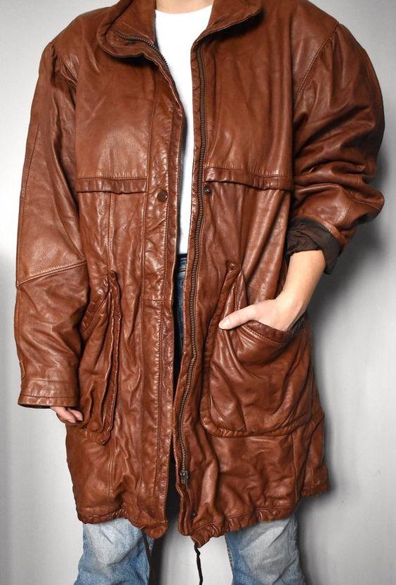 Vintage 90's brown leather parka/ Whiskey brown oversized jacket/ Unisex parka/ Hipster zip-up jacket/ Made in Finland