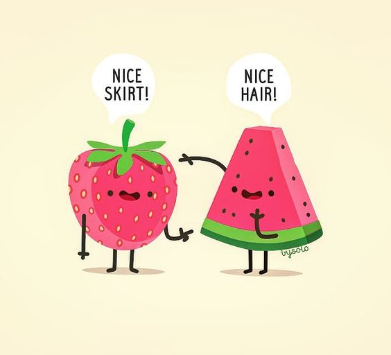 When a watermelon meets a strawberry friday #illustration #watermelon #strawberry #cute #fruits #print #friday #kawai  by fran.solo
