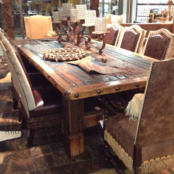 28 western dining room sets 6 rough cut rustic for Western dining room tables