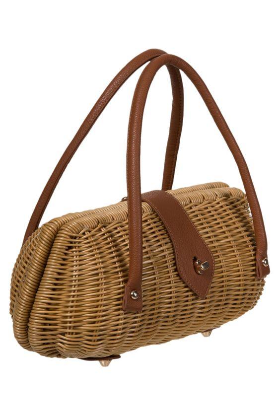 Vintage Style Brown Wicker basket Handbag