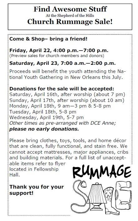 the Church Rummage Sale! Check out our montlhy calendar at: SOTHonline.org