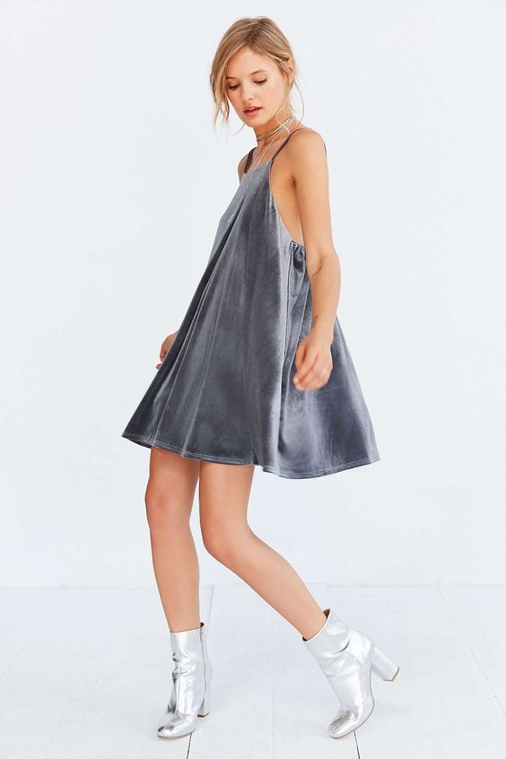 Kimchi Blue Velvet Strappy-Back Mini Frock Dress - Urban Outfitters