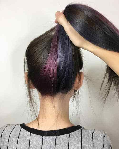 Wine Red Unpredictable Light Purple Underneath Hair Color Underneath Purple Underneath Hair Under Hair Color