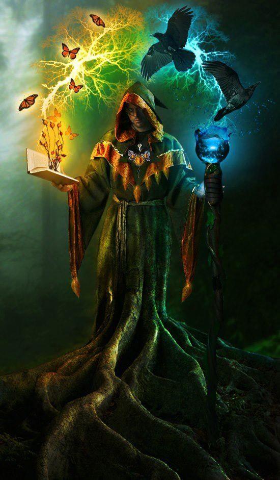 Referencia ao mago Druida  Cajado, livro , e gorro, vestimenta com cores calmas ( verde)