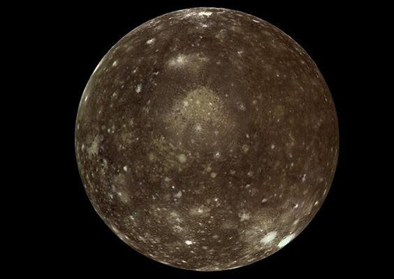 Jupiter's moon, Callisto. Taken by NASA's Galileo spacecraft on  November 1997.
