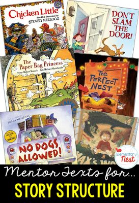 Primary mentor text suggested book list for Story Structure- teaching the beginning, middle, and end of a story- RL2.5, RL3.5- Blog post on suggested books for all Common Core Literature Standards