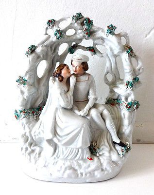 Antique Vintage 19th-Century Staffordshire Figurine of Romeo and Juliet or The L