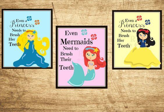 3 8X10 photo prints princess girls kids bathroom wall art picture brush teeth mermaid digital custom instant download