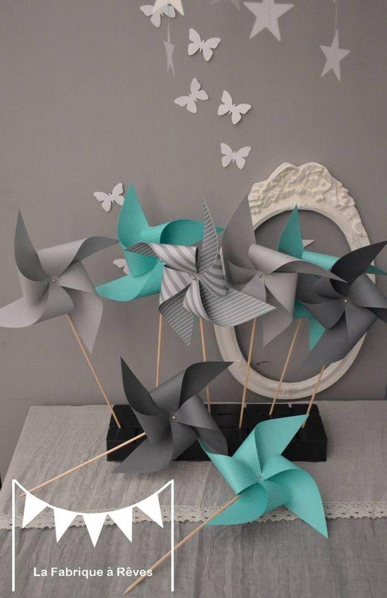 Dispo 10 moulins vent turquoise et gris d coration chambre b b fille g - Decoration bapteme garcon ...