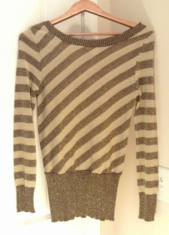BUCKLE DAYTRIP GOLD SPARKLY STRIPED LONG SLEEVE SWEATER SCOOP NECK RARE SZ SMALL #BUCKLEDAYTRIP #ScoopNeck