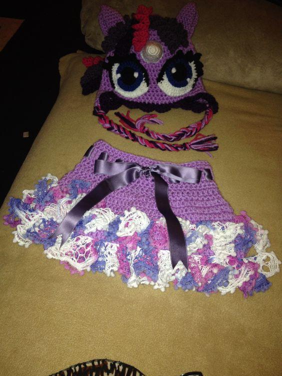 Crochet Hair Fayetteville Nc : Cute little crocheted -My little Pony tutu skirt and hat... adorable