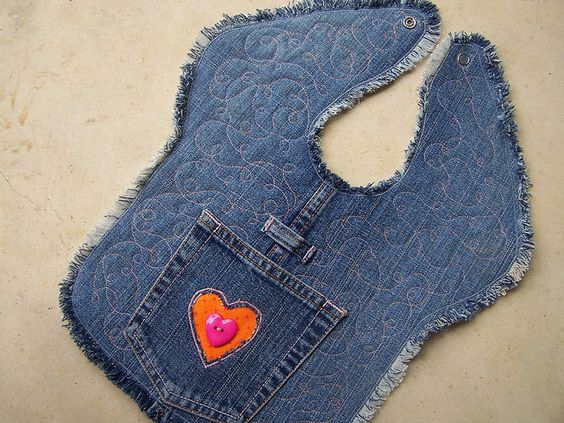 Upcycled denim bib with quilting | Flickr - Photo Sharing!