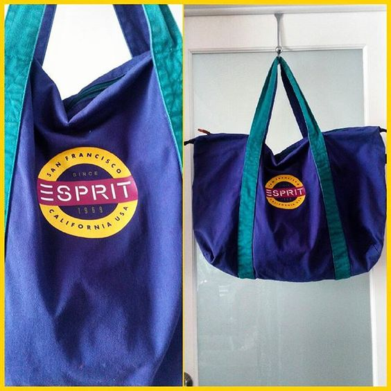"Huge Esprit colourblock cotton twill tote bag from the 80s!  Measures 25"" across.  Excellent condition."