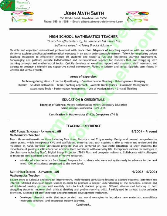 High School English Teacher Resume Luxury Sample Secondary Teacher Resume 154 North Foun In 2020 English Teacher High School Teacher Resume High School Science Teacher