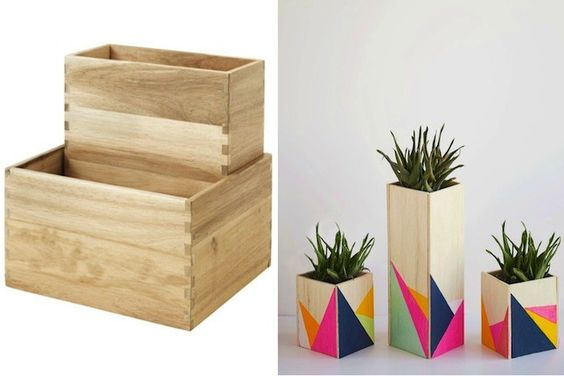 Jazz up solid wooden boxes with geometric shapes in your favorite colors for fun planters.