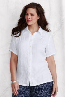 Women's Plus Size Short Sleeve Linen Blouse from Lands' End