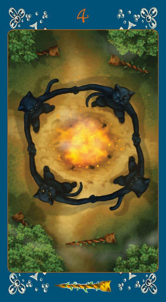 Black Cats Tarot- 4 of Wands