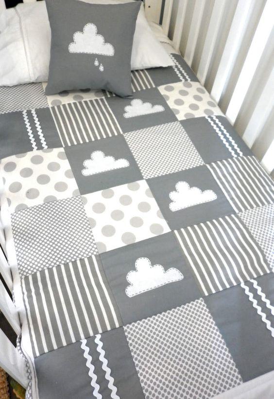 Etsy alphabetmonkey little cloud crib quilt gray/white