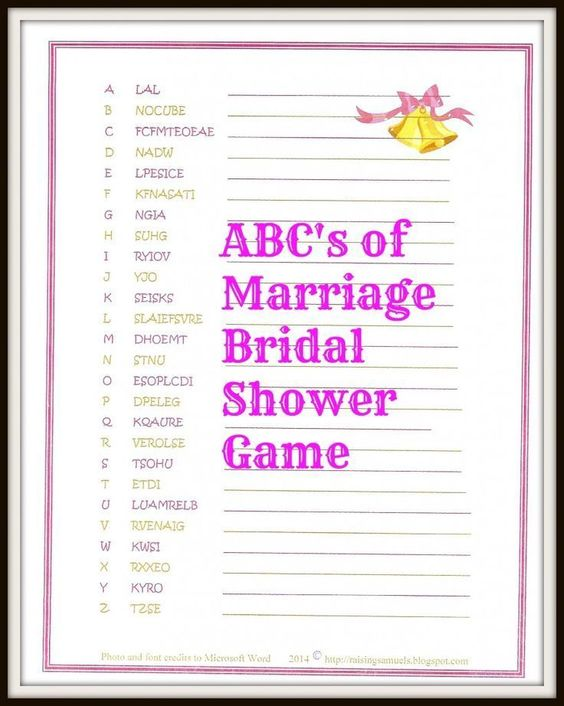 Freebie: The ABC's of Marriage Bridal Shower Game - Satisfaction Through Christ | Looking for a fun bridal shower game for your bride-to-be? Come snag this free printable for your upcoming shower!