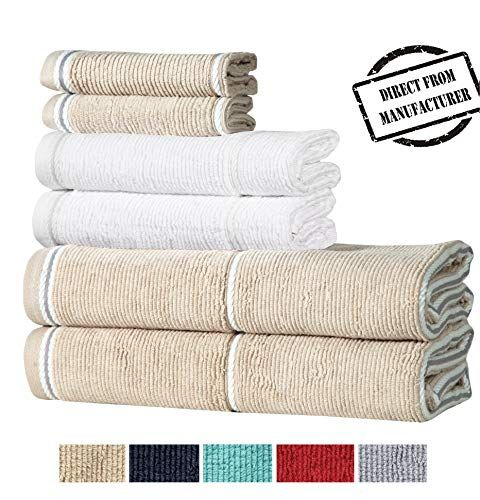 Avira Home Textured Extra Large Bath Towel Set 100 Cotton 6