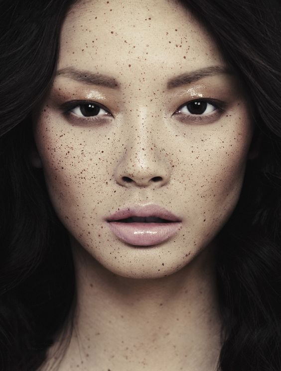 Soft Bronze Smokey Eye. Freckles are Beautiful. Nude Lip.