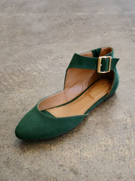 FOREST GREEN ANKLE STRAP BALLET FLATS.  i used to have flats this color and it was the best time of my life.
