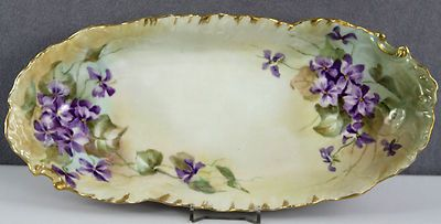 Estate Antique Hand Painted Porcelain Serving Dish Oval Bouquets of Violets | eBay