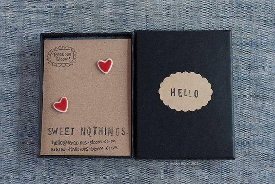 "Cute red glazed porcelain mini heart stud earrings ""SWEET NOTHINGS"" by TenaciousBloom on Etsy"