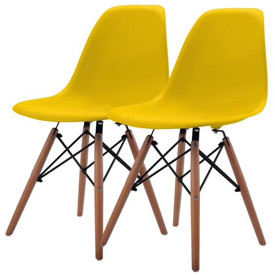 Set of 2 Mid Century Modern Eames Style DSW Dining Side Chair Wood Legs Yellow #Unbranded
