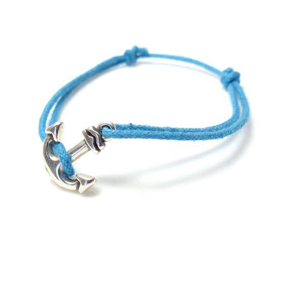 Armbänder - lässig: Ankerarmband ⚓ Baumwollkordel Türkis Blau - ein Designerstück von _Andressa_ bei DaWanda