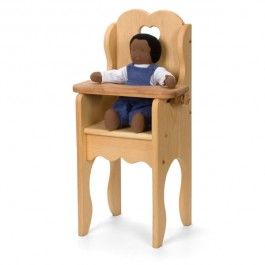 Dolly's Wooden Toy High Chair. Made in Maine of solid pine. Natural linseed oil finish.
