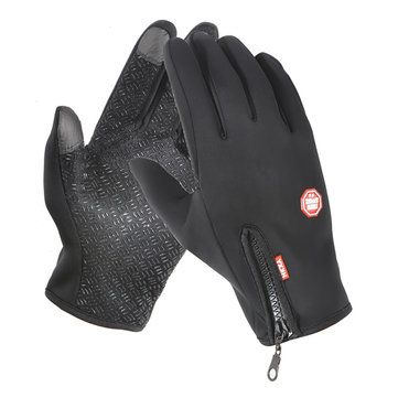 Sport Climbing Waterproof Anti-skid Zipper Adjustable Tightness Warm Fleece Touch Screen Gloves
