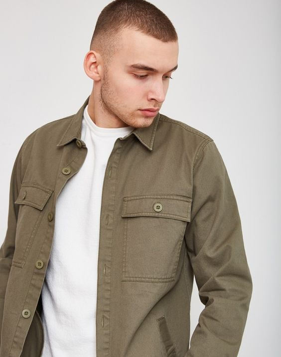 The Idle Man Button Overshirt Green