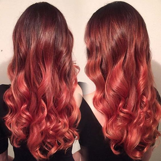 Strawberry red for dark hair girls to try, beautiful ombre  balayage hairstyles
