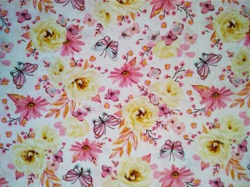 Tkanina Bawelna Kwiaty Roze Motyle Zolte Rozowe 7200048378 Oficjalne Archiwum Allegro Printed Shower Curtain Prints Shower Curtain