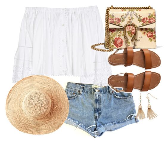 """Summer boho"" by preppygirlusa ❤ liked on Polyvore featuring Levi's, Carolina Herrera, Gucci, LC Lauren Conrad, Aéropostale and Toast"