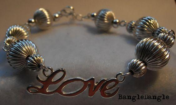 Delikatna z kuleczkami + LOVE w BangleDangle na DaWanda.com