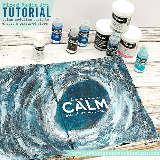 Step by step tutorial using DecoArt Media fluid acrylics and modeling paste to create a hurricane storm with texture #DecoArtProjects #DecoArtMedia