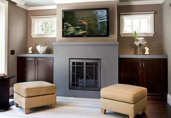 Fireplace with storage cabinets on each side layout with for Fireplace with windows on each side