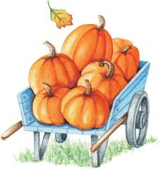 Wagon Load of Pumpkins! Artwork by Gooseberry Patch.: