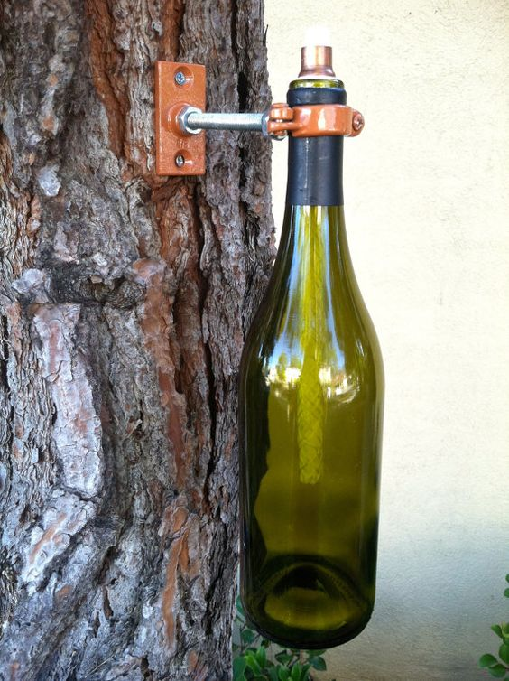Wine Bottle Tiki Torch Lamp Hurricane Lantern Outdoor