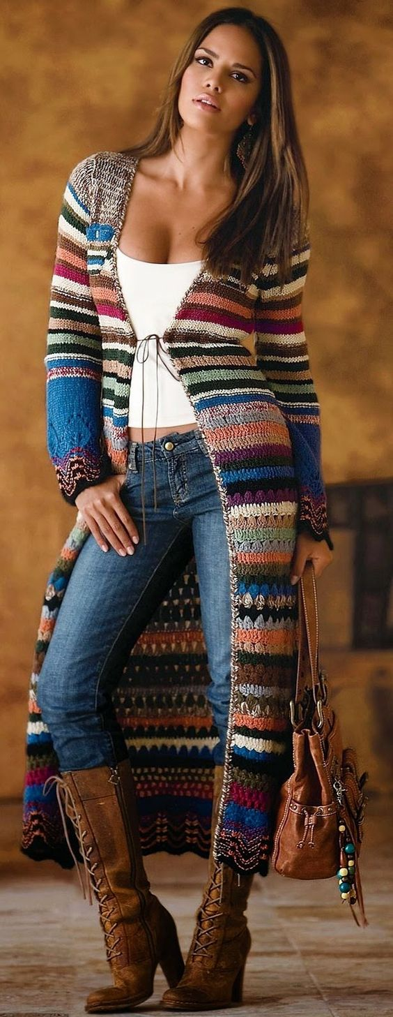 Crochet-by-Jane: COLOURFUL LONG COATS - JACKETS LONG FOR WINTER: