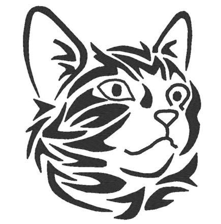 Motif broderie machine chat tribal noir et blanc s rum - Dessin tribal facile ...