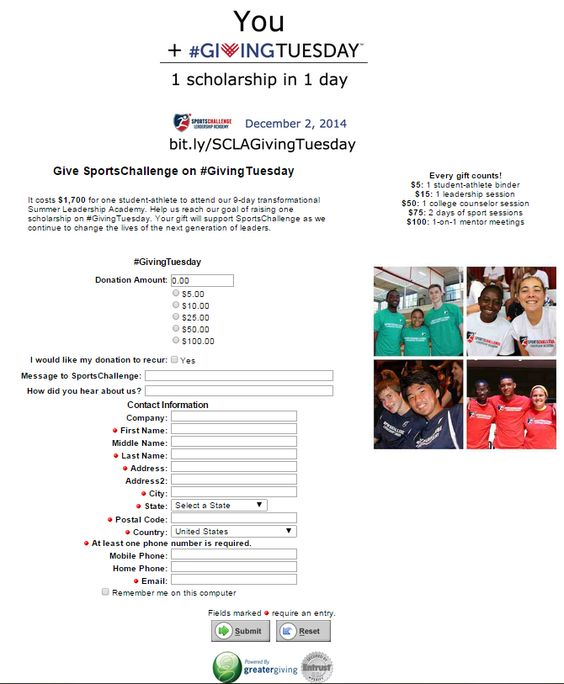 Sports Challenge Leadership Academy's #GivingTuesday Donation page submission! @SportChallenge