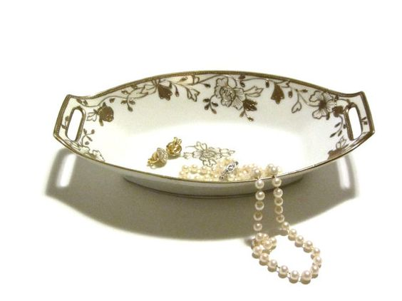 Nippon Gold Gilt Beaded Floral Candy Dish Hand by recreated1