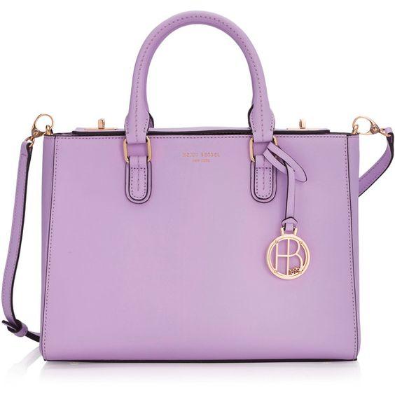 Henri Bendel West 57th Small Turnlock Satchel ($298) ❤ liked on Polyvore featuring bags, handbags, bolsas, lt purple, pouch purse, pink satchel, purse satchel, purse pouch and satchel purse