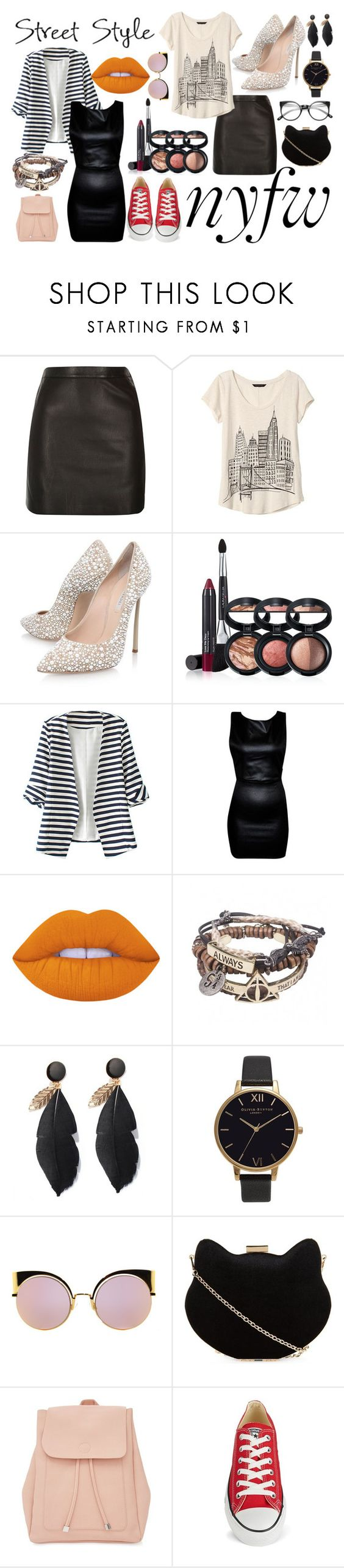 """""""Street Style"""" by minekun ❤ liked on Polyvore featuring River Island, Banana Republic, Casadei, Laura Geller, WithChic, Untitled & Co, Lime Crime, Olivia Burton, Fendi and New Look"""