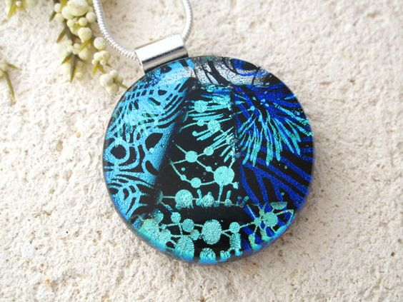 Round Silver Blue & Icy Aqua Necklace - Dichroic  Necklace - Fused Glass Jewelry - Dichroic Jewelry - Statement Necklace 031514p106